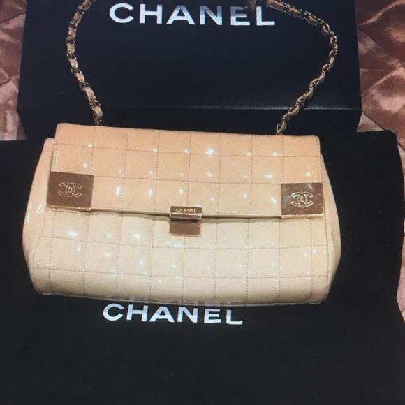 ca6315a537c2 CHANEL Handbags - Chanel authentic patent leather handbag, beige